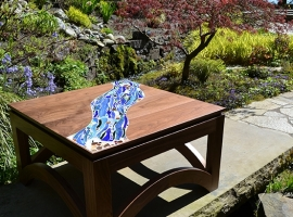 Coffee Table - walnut and mosaic