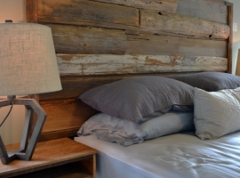 Reclaimed wood headboard and nightstands