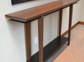 Walnut and Steel Entry Table