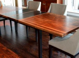 Dining Table from Claro Walnut and Blackened Steel