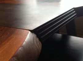 Dining Table from Claro Walnut and Blackened Steel - edge detail