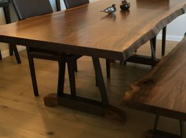 Dining Table and Bench from Claro Walnut and Blackened Steel