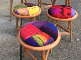 Charitable donation: custom stools with felted cushions by Seabury Middle School